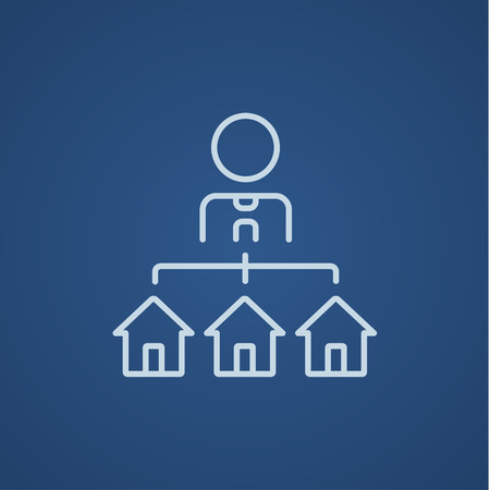 renter: Real estate agent with three houses line icon for web, mobile and infographics. Vector light blue icon isolated on blue background.