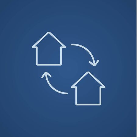 house exchange: House exchange line icon for web, mobile and infographics. Vector light blue icon isolated on blue background.