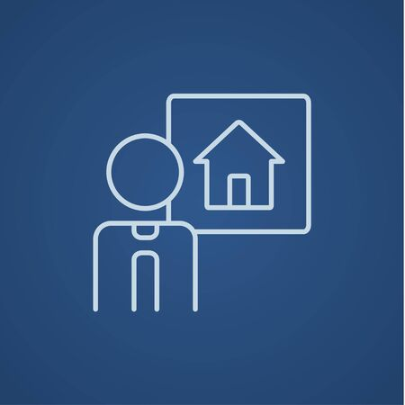 people icon: Real estate agent line icon for web, mobile and infographics. Vector light blue icon isolated on blue background.