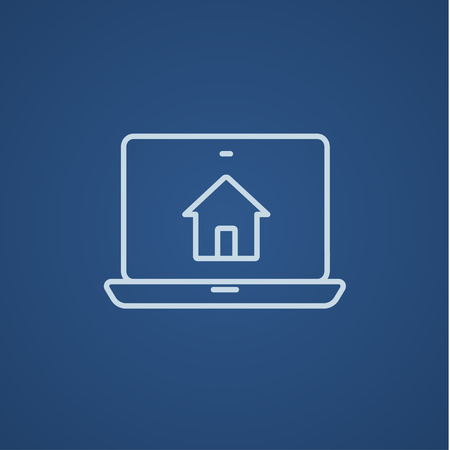 Smart house technology line icon for web, mobile and infographics. Vector light blue icon isolated on blue background. 矢量图像