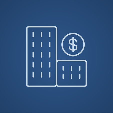 condominium: Condominium with dollar symbol line icon for web, mobile and infographics. Vector light blue icon isolated on blue background.