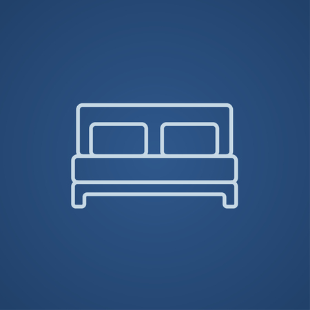 headboard: Double bed line icon for web, mobile and infographics. Vector light blue icon isolated on blue background.