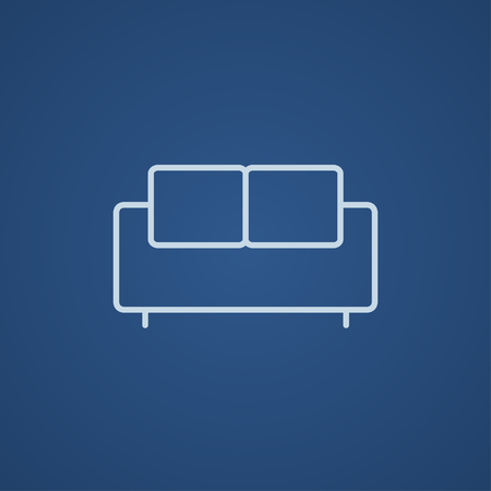 one bedroom: Sofa line icon for web, mobile and infographics. Vector light blue icon isolated on blue background.