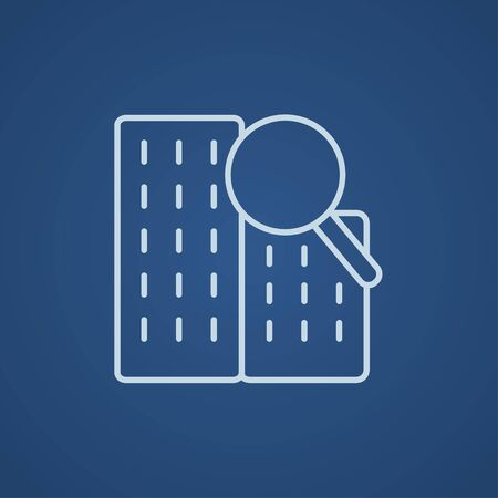 condominium: Condominium and magnifying glass line icon for web, mobile and infographics. Vector light blue icon isolated on blue background. Illustration