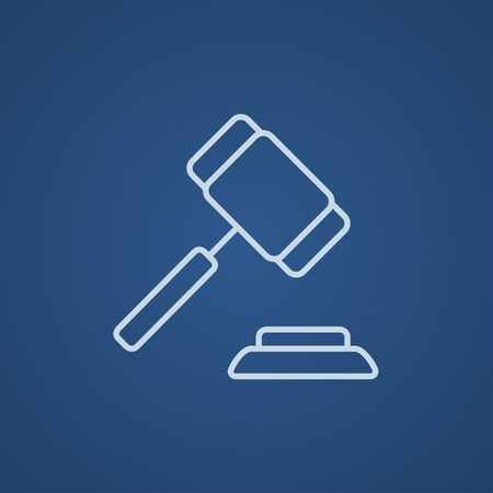 auctioneer: Auction gavel line icon for web, mobile and infographics. Vector light blue icon isolated on blue background.