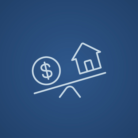 weigher: House and dollar symbol on scales line icon for web, mobile and infographics. Vector light blue icon isolated on blue background.