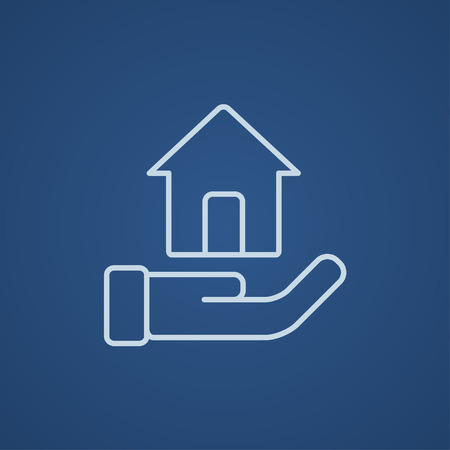 belay: House insurance line icon for web, mobile and infographics. Vector light blue icon isolated on blue background.
