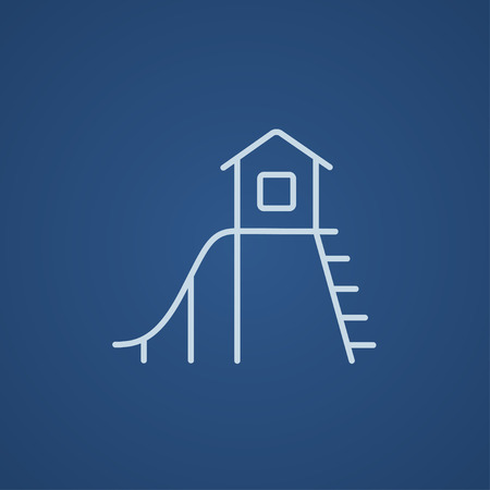 playhouse: Playhouse with slide line icon for web, mobile and infographics. Vector light blue icon isolated on blue background. Illustration