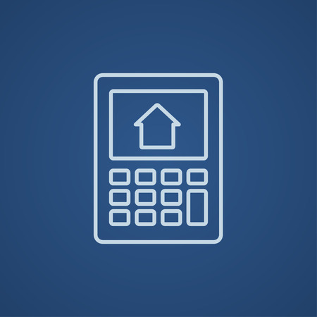 Calculator with house on display line icon for web, mobile and infographics. Vector light blue icon isolated on blue background. Illustration