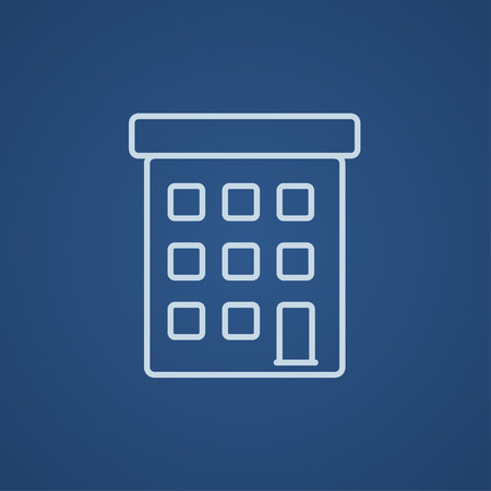 Condominium building line icon for web, mobile and infographics. Vector light blue icon isolated on blue background.
