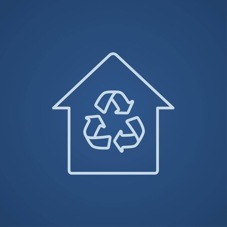 House with recycling symbol line icon for web, mobile and infographics. Vector light blue icon isolated on blue background.