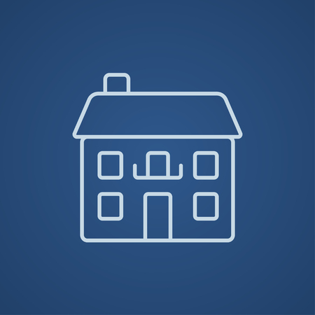 two storey: Two storey detached house line icon for web, mobile and infographics. Vector light blue icon isolated on blue background.