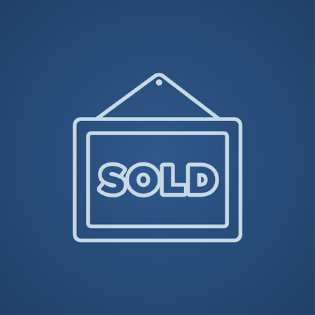 sold isolated: Sold placard line icon for web, mobile and infographics. Vector light blue icon isolated on blue background.