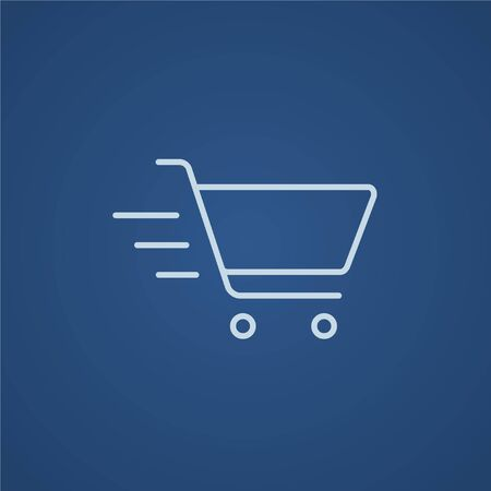 Shopping cart line icon for web, mobile and infographics. Vector light blue icon isolated on blue background.