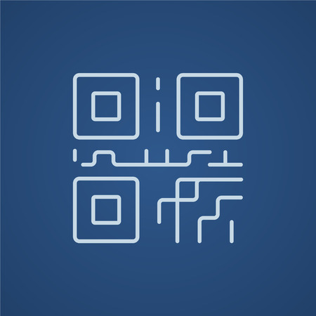quick response: QR code line icon for web, mobile and infographics. Vector light blue icon isolated on blue background.
