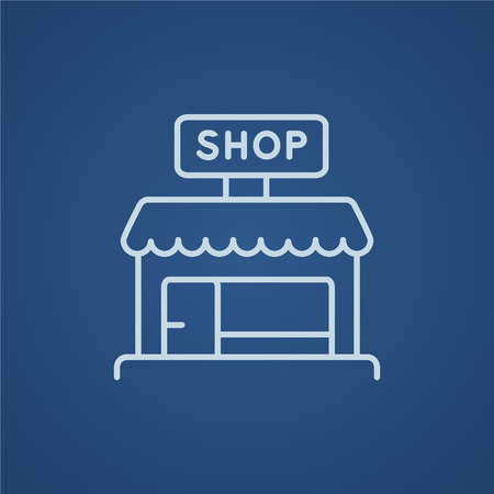 awnings: Shop line icon for web, mobile and infographics. Vector light blue icon isolated on blue background. Illustration