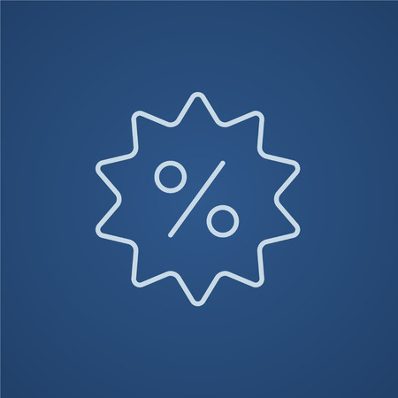 selloff: Discount tag line icon for web, mobile and infographics. Vector light blue icon isolated on blue background.