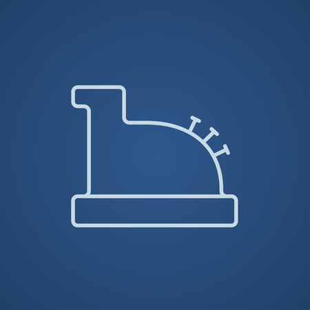 Cash register machine line icon for web, mobile and infographics. Vector light blue icon isolated on blue background.