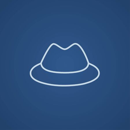 rimmed: Classic hat line icon for web, mobile and infographics. Vector light blue icon isolated on blue background.