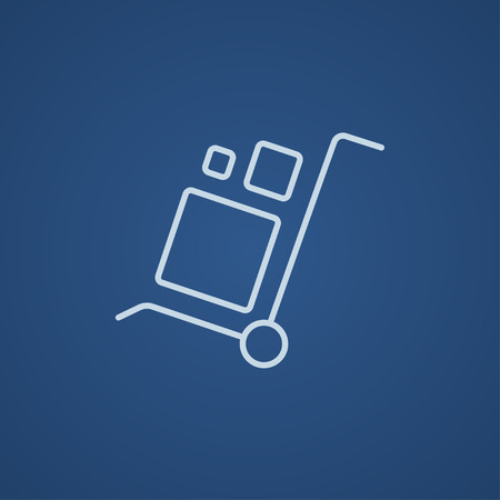 Shopping handling trolley with boxes line icon for web, mobile and infographics. Vector light blue icon isolated on blue background. Illustration