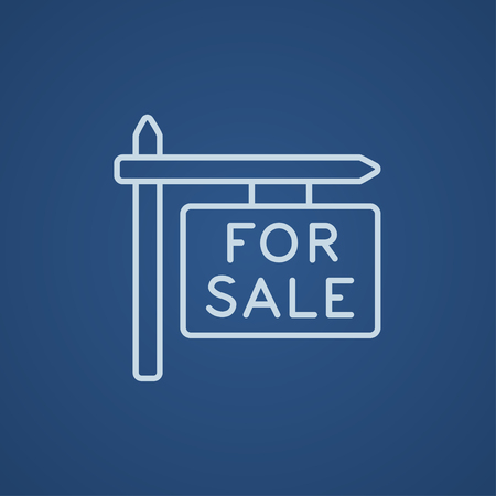 selloff: For sale signboard line icon for web, mobile and infographics. Vector light blue icon isolated on blue background.