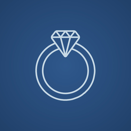 Diamond ring line icon for web, mobile and infographics. Vector light blue icon isolated on blue background.