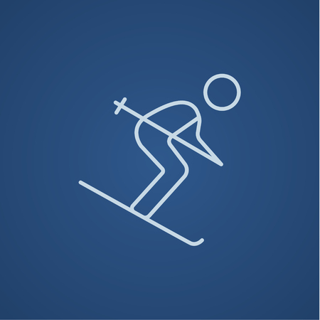 Downhill skiing line icon for web, mobile and infographics. Vector light blue icon isolated on blue background.