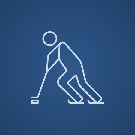 Hockey player line icon for web, mobile and infographics. Vector light blue icon isolated on blue background.