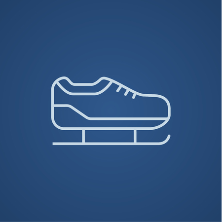 skating on thin ice: Skate line icon for web, mobile and infographics. Vector light blue icon isolated on blue background. Illustration