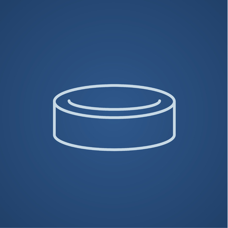 skating on thin ice: Hockey puck line icon for web, mobile and infographics. Vector light blue icon isolated on blue background.