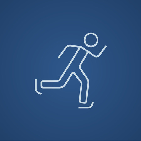 skating on thin ice: Speed skating line icon for web, mobile and infographics. Vector light blue icon isolated on blue background. Illustration