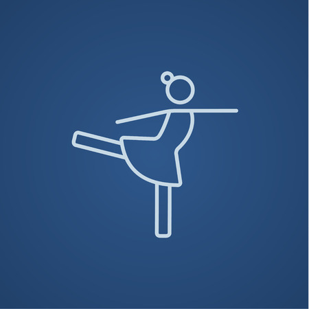 skating on thin ice: Female figure skater line icon for web, mobile and infographics. Vector light blue icon isolated on blue background.
