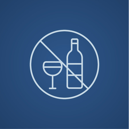 spirituous: No alcohol sign line icon for web, mobile and infographics. Vector light blue icon isolated on blue background.