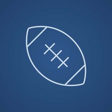 Rugby football ball line icon for web, mobile and infographics. Vector light blue icon isolated on blue background.