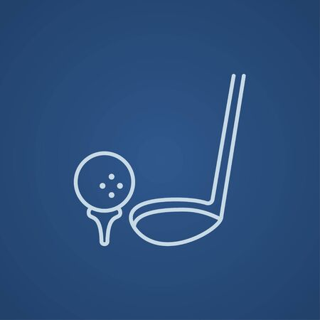 putter: Golf ball and putter line icon for web, mobile and infographics. Vector light blue icon isolated on blue background.
