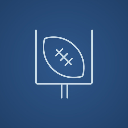Gate and ball for rugby line icon for web, mobile and infographics. Vector light blue icon isolated on blue background.