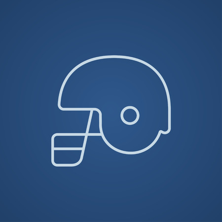 safeness: Hockey helmet line icon for web, mobile and infographics. Vector light blue icon isolated on blue background.