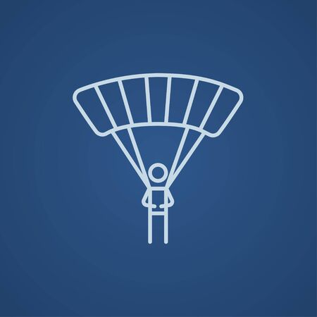 airplay: Skydiving line icon for web, mobile and infographics. Vector light blue icon isolated on blue background.