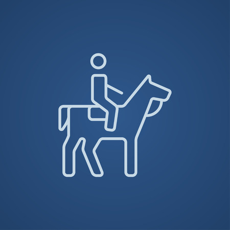 Horse riding line icon for web, mobile and infographics. Vector light blue icon isolated on blue background.