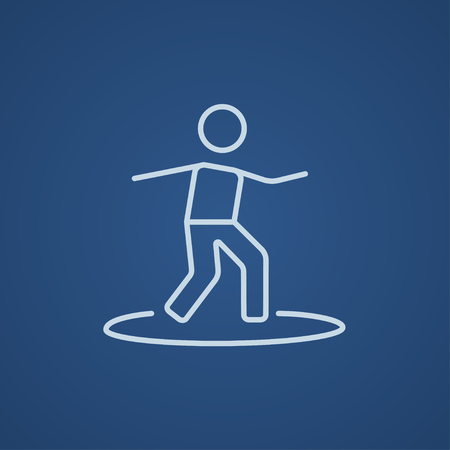 male surfer: Male surfer riding on surfboard line icon for web, mobile and infographics. Vector light blue icon isolated on blue background.