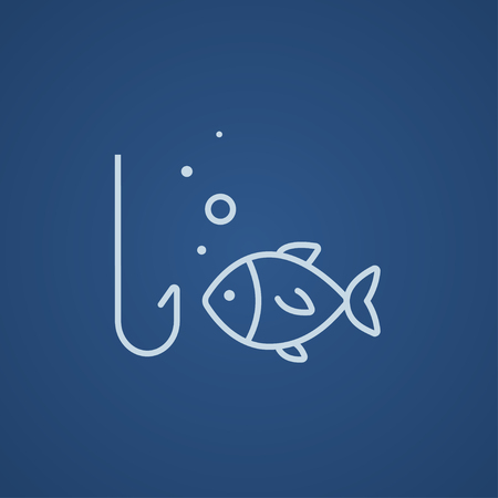 Fish with hook line icon for web, mobile and infographics. Vector light blue icon isolated on blue background.