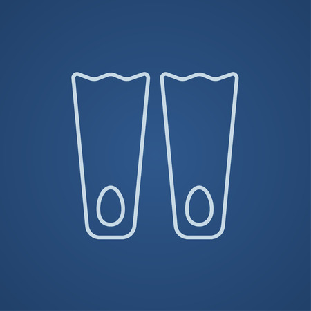flippers: Flippers line icon for web, mobile and infographics. Vector light blue icon isolated on blue background.
