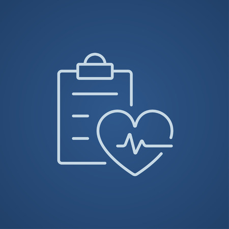 background check: Heartbeat record line icon for web, mobile and infographics. Vector light blue icon isolated on blue background.