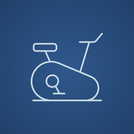 Exercise bike line icon for web, mobile and infographics. Vector light blue icon isolated on blue background.