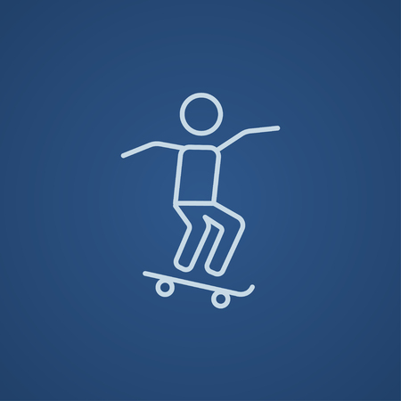 Man riding on a skateboard line icon for web, mobile and infographics. Vector light blue icon isolated on blue background. Vettoriali