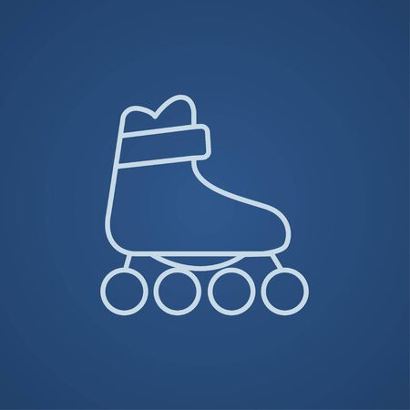 roller skate: Roller skate line icon for web, mobile and infographics. Vector light blue icon isolated on blue background. Illustration