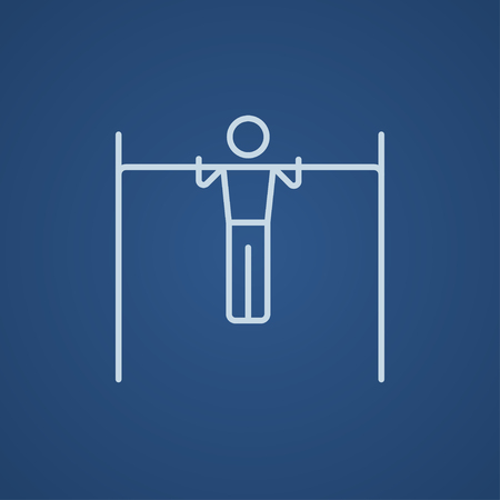 gripping bars: Gymnast exercising on the bar line icon for web, mobile and infographics. Vector light blue icon isolated on blue background.
