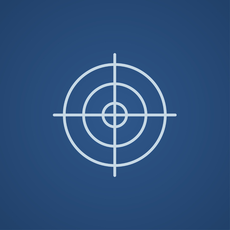 blue circle: Shooting target line icon for web, mobile and infographics. Vector light blue icon isolated on blue background. Illustration