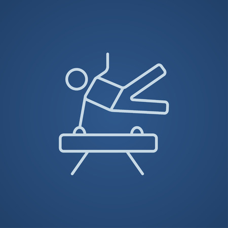 pommel: Gymnast exercising on the pommel horse line icon for web, mobile and infographics. Vector light blue icon isolated on blue background.
