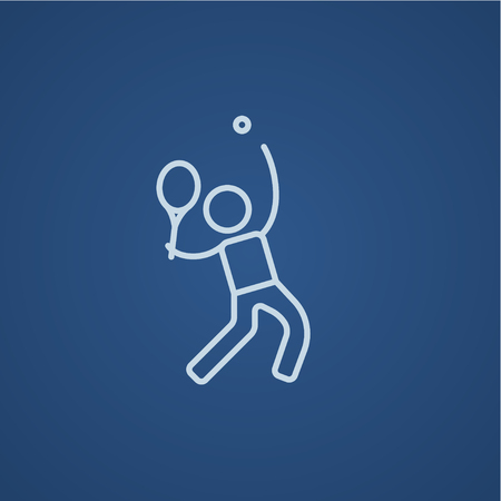 Man playing big tennis line icon for web, mobile and infographics. Vector light blue icon isolated on blue background.